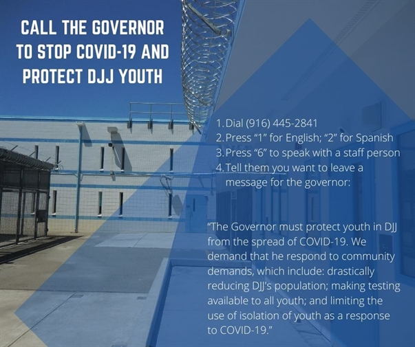 Tell Governor Newsom to Act Now: Protect Youth at DJJ from COVID-19 Outbreak