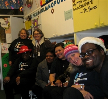 The Oakland Interfaith Gospel Choir gathered at the Children's Waiting Room prior to their performance for the inmates at the SF County Jail.