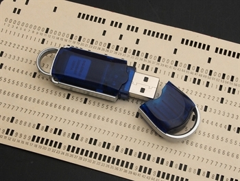 Old 80 Column Punch Card and 1GB Flash Drive