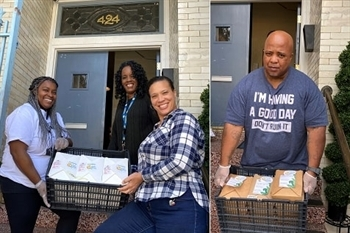 Cameo House staff receive a WCK food delivery for families.