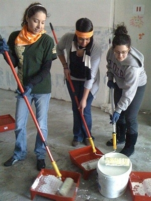 Youth take part in a community service project.